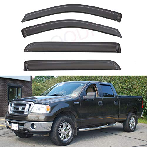 LQQDP Set of 4 Front+Rear Smoke Sun/Rain Guard Outside Mount Tape-On Acrylic Window Visors For 06-08 Lincoln Mark LT 04-08 Ford F-150 SuperCrew/Crew Cab With 4 Full Size ()