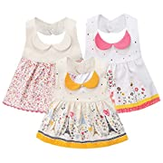 GZMM 3-Pack Baby Girl's Bibs Dress Infant Toddler waterproof Burp Cloths With Adjustable Snaps