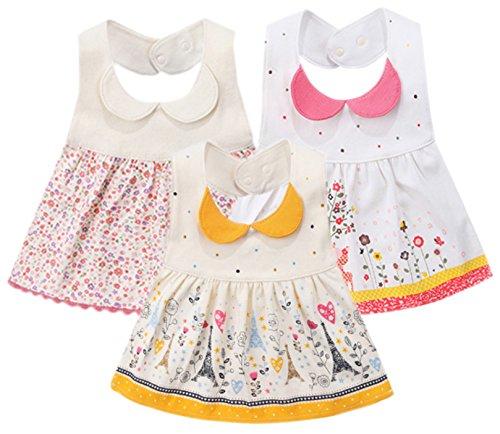 GZMM 3-Pack Baby Girls Bibs Dress Infant Toddler waterproof Burp Cloths With Adjustable Snaps