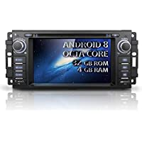 Android 8 Car stereo CD DVD Player - Corehan Octa Core 4GB Ram 32GB Rom In Dash Car Radio Multimedia Player Navigation System with 6.2 LCD Bluetooth Wifi GPS for Jeep Wrangler Dodge Chrysler