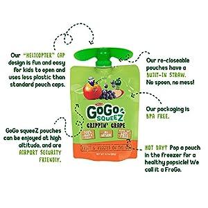 GoGo squeeZ fruit & veggieZ, Apple Sweet Potato Grape, 3.2 Ounce (48 Pouches), Gluten Free, Vegan Friendly, Unsweetened, Recloseable, BPA Free Pouches