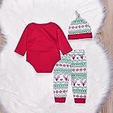 3PCs Baby Red Long Sleeve T-Shirt Romper+Long