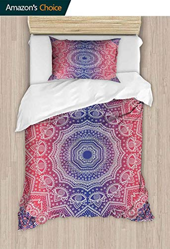 (CheeryHome Print Comforter Quilt Set, Hippie Ombre Style Print Infinity and Harmony Culture Inspired Pattern, with 1 Pillowcase for Kids Bedding,39 W x 51 L Inches, Ruby Royal Blue)