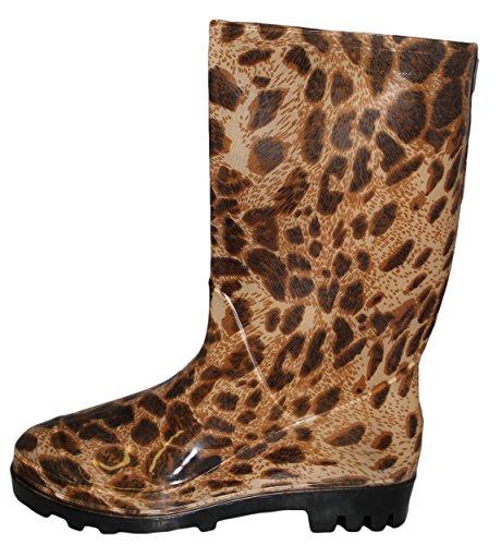 Le Donne Stivali Da Pioggia Di Gomma Resistenti Di Lunghezza A 10 Pollici Di Alto Modo Plaid & Leopardo Di Disegno Del Leopardo