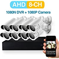 2MP AHD Security Camera System 8 X 1080P Weatherproof CCTV Camera and 1080N 8CH DVR Recorder Support AHD//TVI/CVBS- No Hard Drive