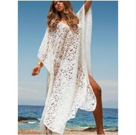 Europa y Estados Unidos el comercio exterior Aliexpress ebay playa sol falda vestido de encaje de blusas de mangas murciélago Blanco