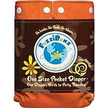 FuzziBunz One Size Diaper, Kumquat, 7-35 Pounds