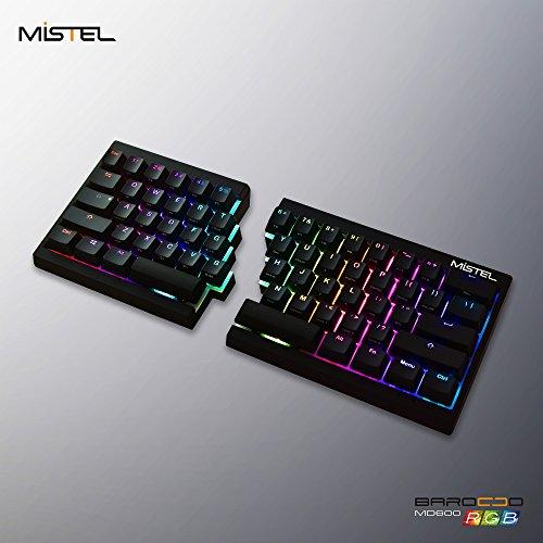 Barocco Place - Mistel Barocco Ergonomic Split PBT RGB Mechanical Keyboard with Cherry MX Sliver Switches, Black
