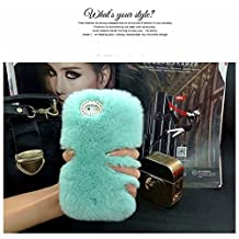 Sony Xperia SP Case - LU2000 Beaver Rabbit Furry Case With Double Ring Bling Crystals Around Camera Hole Fluff Phone Back Cover for Sony Xperia SP M35 M35h C5302 C5303 All Version - Light Green