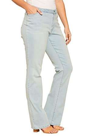 Amazon.com: Women's Plus Size Petite Bootcut Jeans With Invisible ...