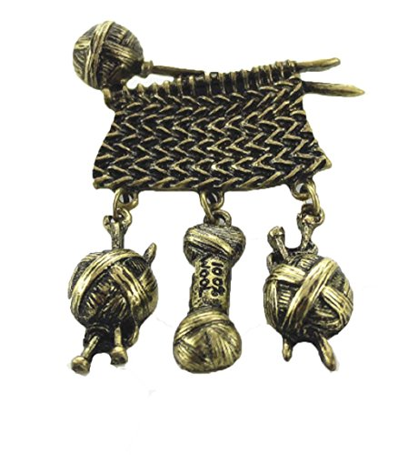 I LOVE KNITTING,& Quilting Bronze Tone Brooch Pin. Vertical Hanging Yarn,and Knitting Needles