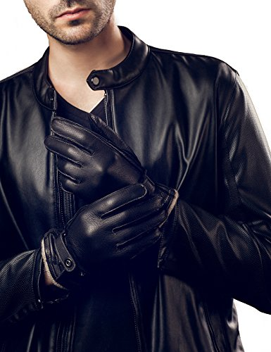YISEVEN Men's Winter Cashmere Lined Genuine Deerskin Dress Leather Gloves Driving Warm Hand Long Fur Cuffs Thinsulate Heated Lining Luxury Classical Belt Work Gifts, Black 9