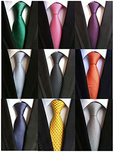 (Welen Lot 9 PCS Classic Men's Tie Necktie Woven JACQUARD Neck Ties (Style 08))