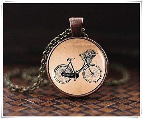 Hermoso adorno Collar vintage bicicleta bicicleta, colgante de bicicleta, collar Vintage Hipster gráficos, collar estilo...