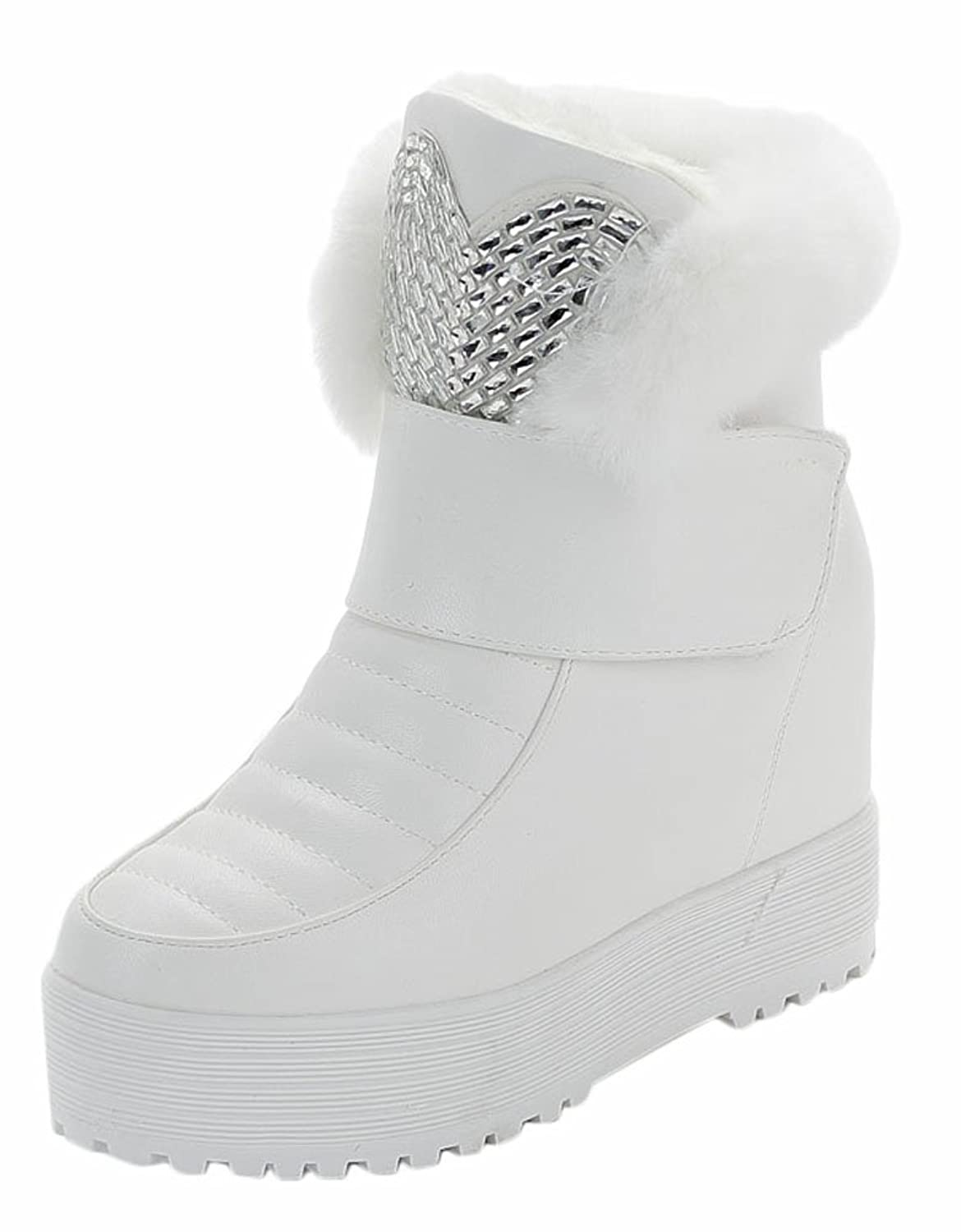 Ace Women's Winter Platform Wedge High-top Thermal Snow Boots with Fur