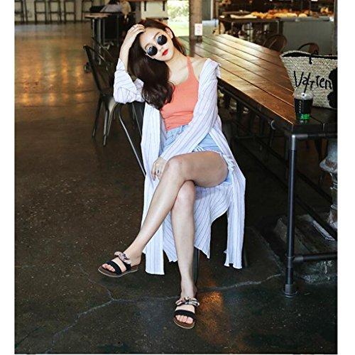 Été Couleur 5 Taille Plat Cool Fond Loisirs Extérieure Black Femme Sandales Porter Flip UK3 Flop EU36 Sandales Moyen Talon CN35 Xy® Chic Pantoufles Black Ax1aPIna