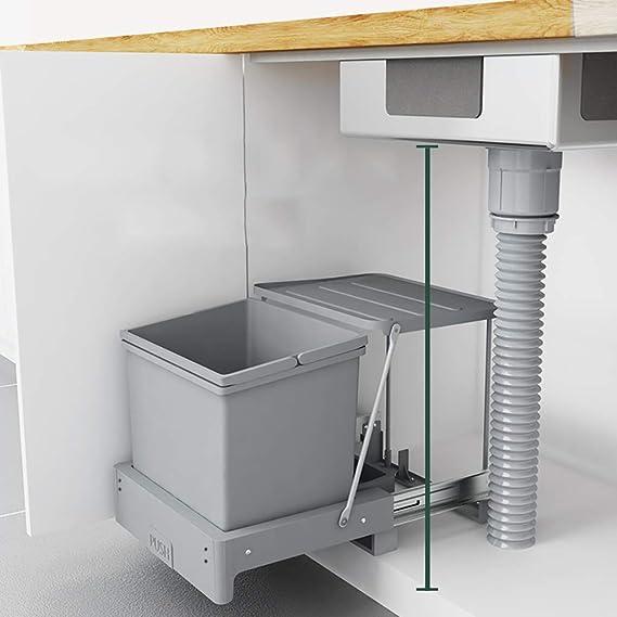 WEWE Cocina Tire hacia afuera Armario Cubo,Gabinete del Fregadero Reciclar Cubo de la Basura 16l-A 36x36x36.5cm(14x14x14inch): Amazon.es: Hogar