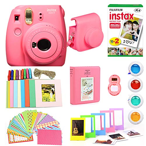 Fujifilm Instax Mini 9 Instant Print Camera (Renewed) Super Bundle with New Camera Case & Accessories | Photo Album, Photo Stickers, 10 Mini Frames, Close Up Lens & More (Flamingo Pink)