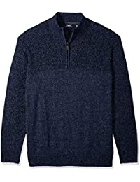 Men's Big and Tall Saltwater Solid 1/4 Zip Sweater
