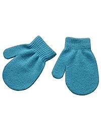 wlgreatsp Boys Girls Solid Color Knitting Mittens Winter Gloves Light Blue