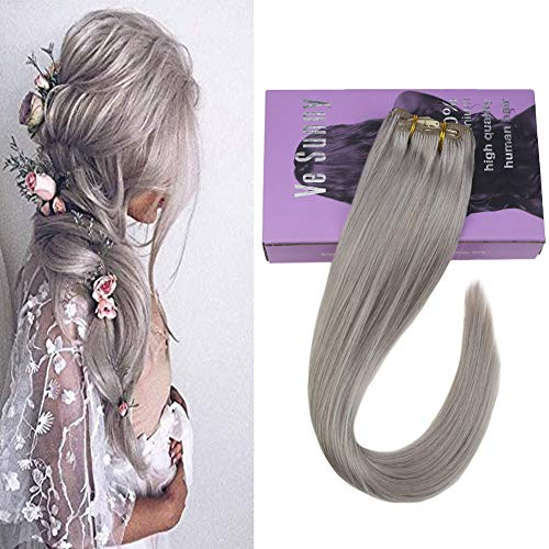 VeSunny Grey Clip in Human Hair Extensions 14inch 7pcs/120g Remy Real Hair Extensions Clip in Silver Human Hair Full Head Set With Salon Style