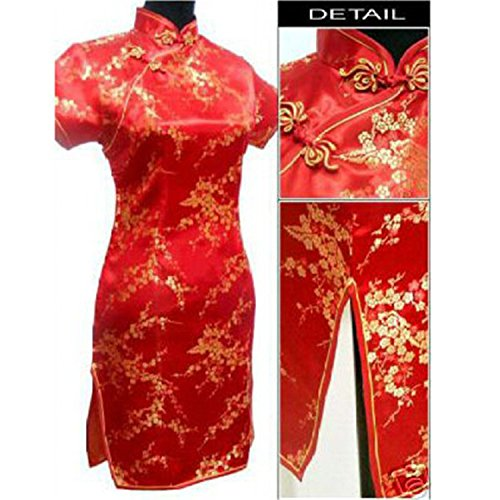 Qipao Chinese Women's Dress Cheongsam Mini Red Satin Traditional Flower nIBwBv