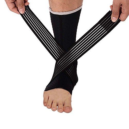DIBIO Adjustable Ankle Support with compression straps for Injury Recovery, Joint Pain and more. Eases Swelling, Heel Spurs, Achilles tendon(1 pair) ()