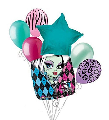 7 pc Monster High Balloon Bouquet Party Decoration Happy Birthday Frankie Stein]()