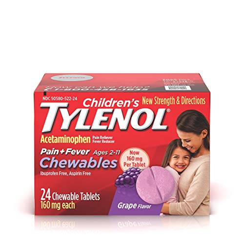 Childrens Tylenol - Children's Tylenol Chewables, Acetaminophen for Pain & Fever Relief, Grape, 24 ct