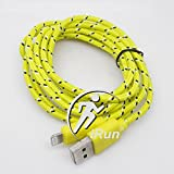 iRun® 2M long Woven Braided Durable Lightning 8-Pin USB Data Sync Charger Cord Cable 6ft for iPhone 6 6+ 5s 5c 5 iPad Mini IOS 7.1 & IOS 8 (Yellow)
