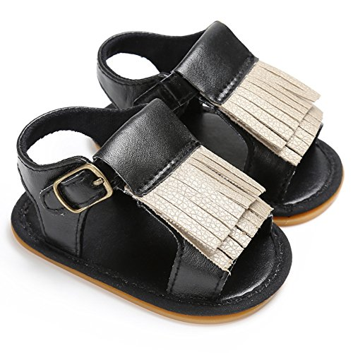 Sandalias De Bebe,BOBORA Prewalker Zapatos Primeros Pasos Para Bebe Borlas PU Bebe Suelas De Goma Sandalias negro
