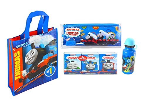 (Thomas The Tank Engine On The Go Toiletry Travel Set With Carry Storage Bag- Tissue Paper Pack, Toothbrush With Cap, Sports Water Bottle)