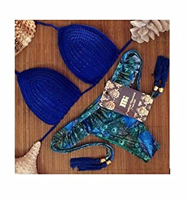 Sexy Women Floral bikini set Brazilian Push up swimsuit (BLUE KNIT bikini )