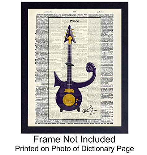 (Prince Guitar Wall Art Print on Dictionary Photo - Ready to Frame (8x10) Vintage Photo - Great Gift for Music Fans - Perfect for Music Studio - Chic Home Decor)