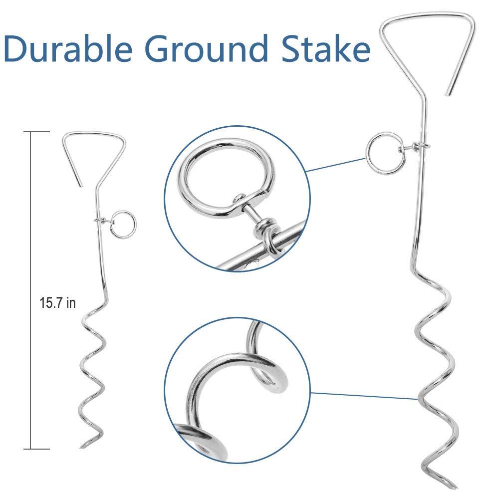 OFPUPPY Tie Out Leash /& Stake for Cats 26ft with Corkscrew Great for Outside or Garden and Running for Yard,Suitable for Harness,Cable for Cats /& Puppy Dogs,Freedom and Lightweight