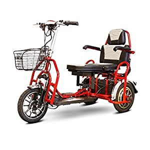 E-Wheels - EW-02 Folding Heavy Duty Bariatric Scooter, Weight capacity: 500 lbs. 3-Wheel - Red
