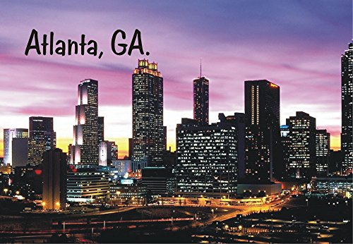 Atlanta, Georgia, Night Skyline, City, Buildings, GA, Souvenir Magnet 2 x 3 Fridge Magnet