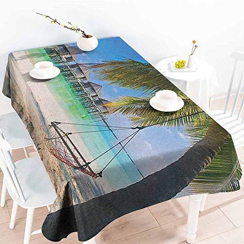 Willsd Custom Tablecloth,Beach Hammock Under Palm Leaves in Golden Heaven Beach Paradise Caribbean Peace Sun Print,High-end Durable Creative Home,W50x80L ()