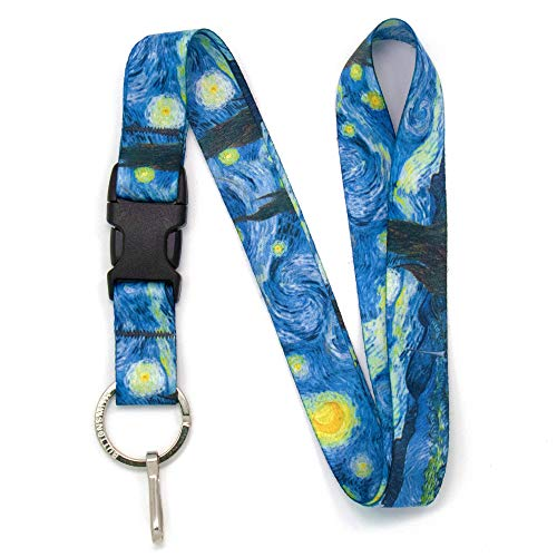 Buttonsmith Starry Night Premium Lanyard - with Buckle and Flat Ring - Made in The USA]()