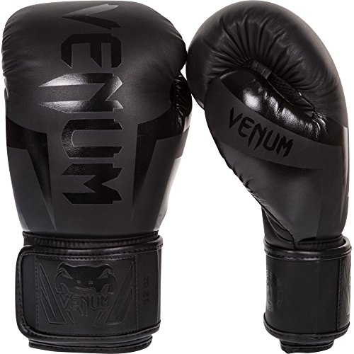 (Venum Elite Boxing Gloves, Black, 16 oz)