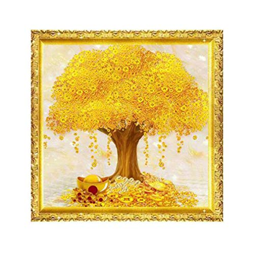 Iumer Gold Money Tree Rhinestone Embroidery Kits Cross Stitch 5D Diamond Painting Kits Wall Art
