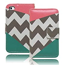 Bastex Heavy Duty Protective Case Cover - Teal and Pink with Chevron Design Flip Wallet with Credit Card Holder for Apple iPod Touch 4