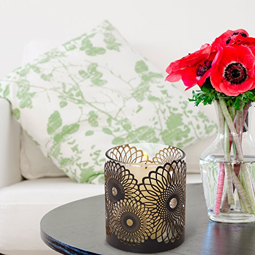 Asense Metal Candle Holder and Lantern Hurricanes, Holds 1 Pillar Candle, No Include Candle. (Sunflower) (Holder Sunflower Candle)