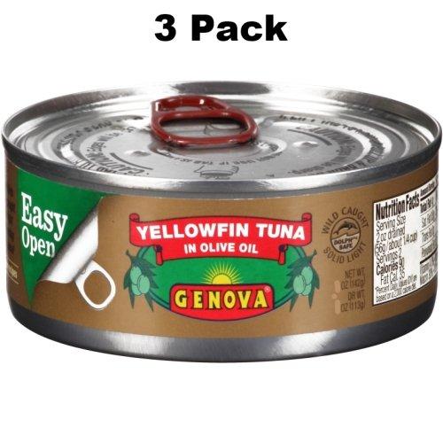 Genova Premium Yellowfin Tuna in Pure Olive Oil 3 Ounce (Pack of 3) (Tuna Genova)