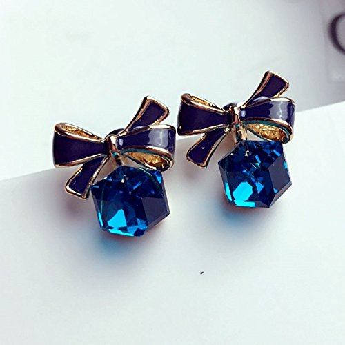 Korean Blue Crystal Box Cute Bow Earrings earings Dangler Eardrop Zircon Earrings Fashion Creative Women Girls Star Spring Models