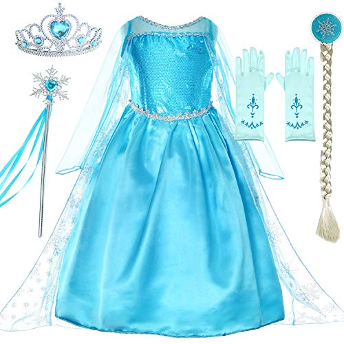 Snow Queen Princess Elsa Costumes Birthday Party Dress Up for Little Girls with Wig,Crown,Mace,Gloves Accessories 5T-6T(120cm) ()