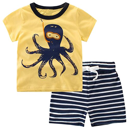 Csbks Kids Boys Summer Outfits Short Sleeve T-Shirt & Shorts Sets 1-6 Toddler 3T Octopus by Csbks