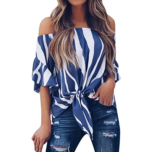 kaifongfu Women Striped Off Shoulder Short Sleeve Tops Waist Tie Casual Blouse T Shirts (S, Blue) ()