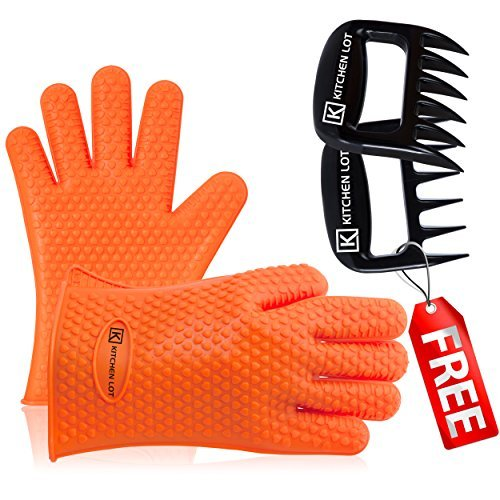 Heat-Resistant Silicone Gloves & Pull Claws by Kitchen-Lot ~ For Cooking, Baking, & BBQ - Comfortable, Flexible, Non-Slip, Easy-To-Clean, & Fits Most Hands Hard-Plastic Shredders Plus Recipe Ebook!