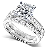 Forever One (D-F) Moissanite Bridal Set with Diamond 2 1/5 CTW 14k White Gold